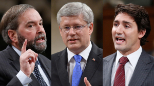 Mulcair, Harper, Trudeau.(Chris Wattie/Reuters; Sean Kilpatrick/CP)